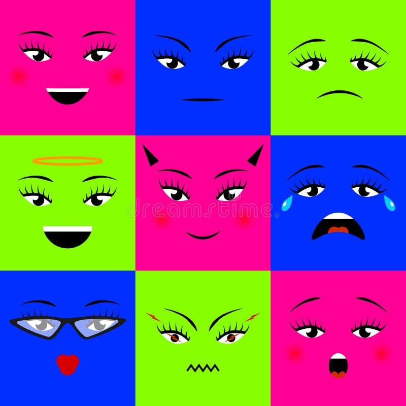 Los iconos cuadrados coloridos de los emojis fijaron diversas caras de la muchacha Ilustración del vector ilustración del vector