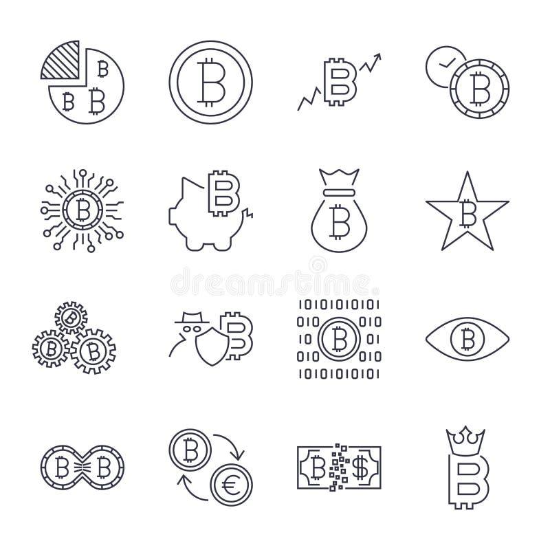 Los iconos de Bitcoin fijaron para el s?mbolo de moneda del dinero de Internet y la imagen crypto de la moneda para usar en web M ilustración del vector