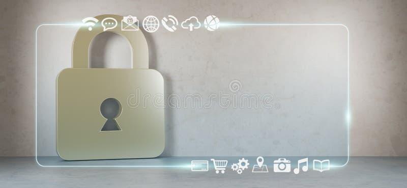 Los iconos de Cadena en interior con el web interconectan la representación 3D ilustración del vector