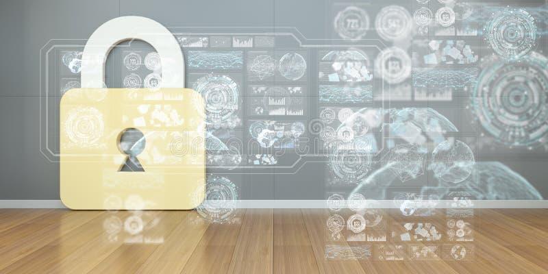 Los iconos de Cadena en interior con el web interconectan la representación 3D libre illustration