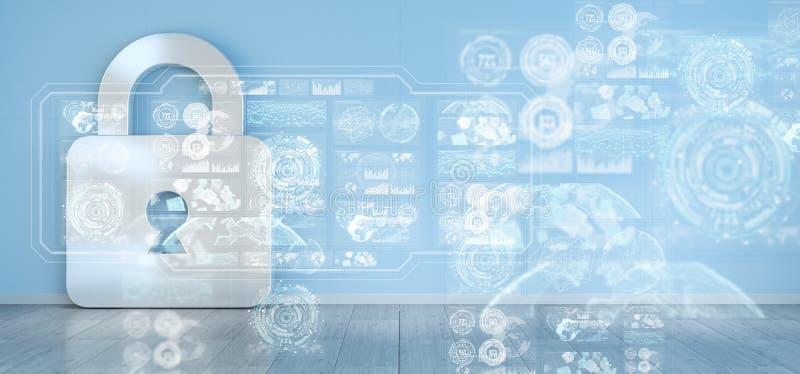 Los iconos de Cadena en interior con el web interconectan la representación 3D stock de ilustración