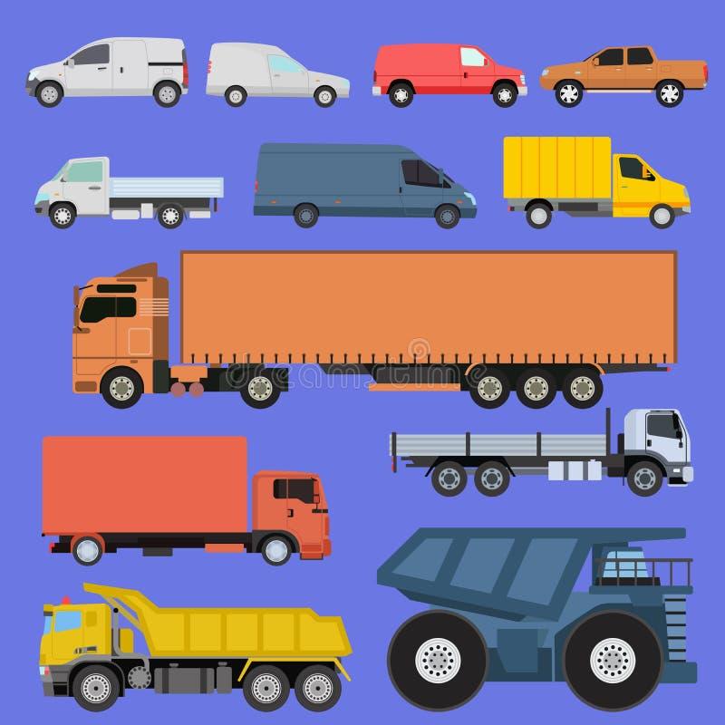 Los iconos de los camiones fijaron el transporte del cargo de los vehículos de los coches del envío del vector por el camino Cami stock de ilustración