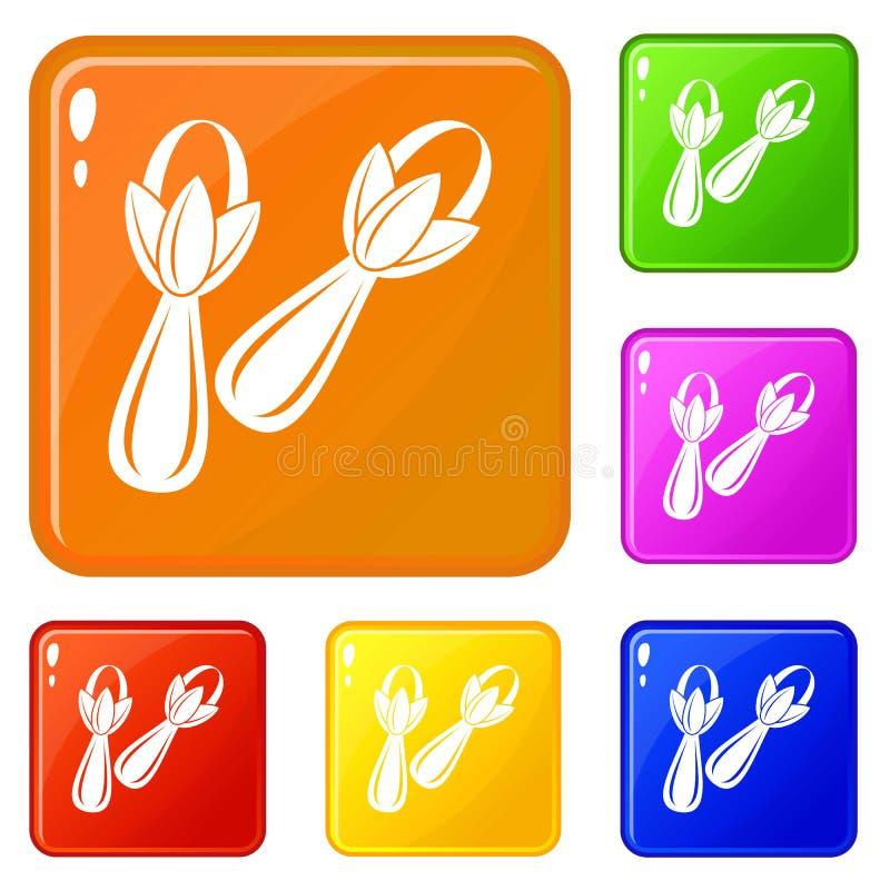 Los iconos de los clavos de la especia fijaron color del vector stock de ilustración
