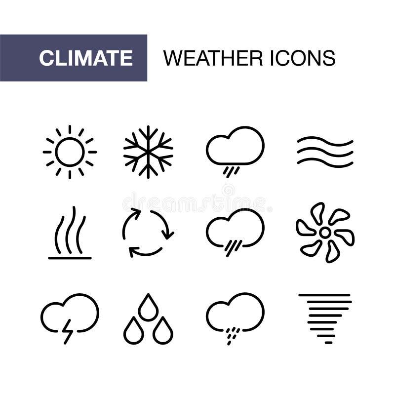Los iconos de condicionamiento fijados para el ui plano simple del tiempo del estilo diseñan stock de ilustración