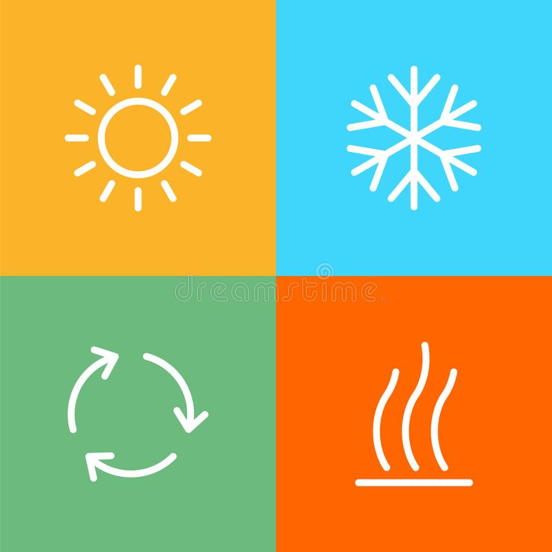 Los iconos de condicionamiento fijados para el ui plano simple del tiempo del estilo diseñan libre illustration