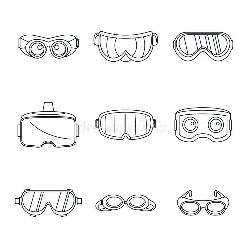 Los iconos de cristal de la máscara del esquí de las gafas fijaron, estilo simple ilustración del vector