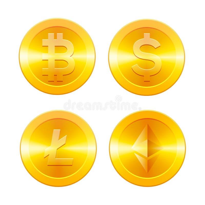 Los iconos de Cryptocurrencys fijaron, Bitcoin, Ethereum, Litecoin y el dólar, monedas de oro con el símbolo del cryptocurrency,  ilustración del vector