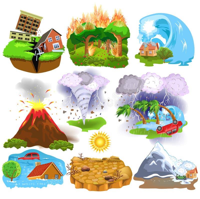 Los iconos de los desastres naturales les gusta el terremoto, tsunami, huracán, avalancha, sequía, tornado libre illustration