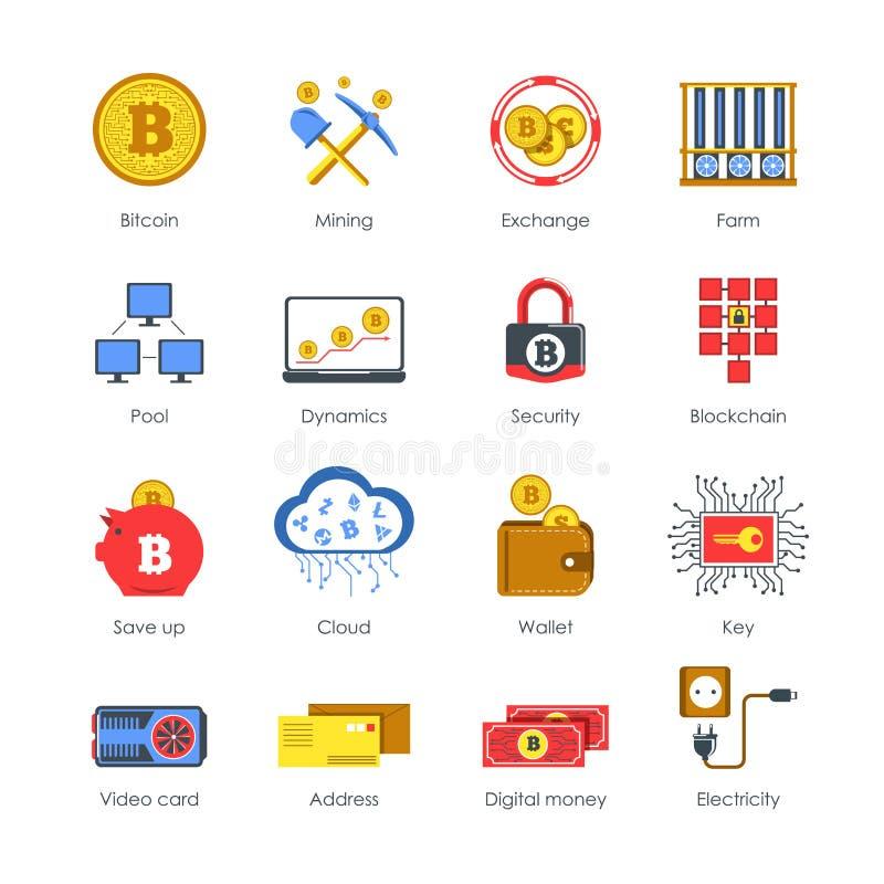 Los iconos de Digitaces conectados con el cryptocurrency aislaron los ejemplos fijados stock de ilustración