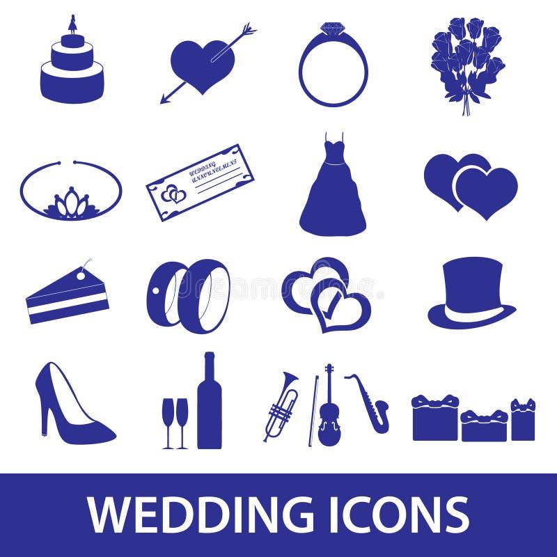 Los iconos de la boda fijaron eps10 ilustración del vector