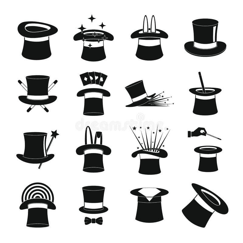 Los iconos de la brujería del sombrero del mago fijaron, estilo simple stock de ilustración