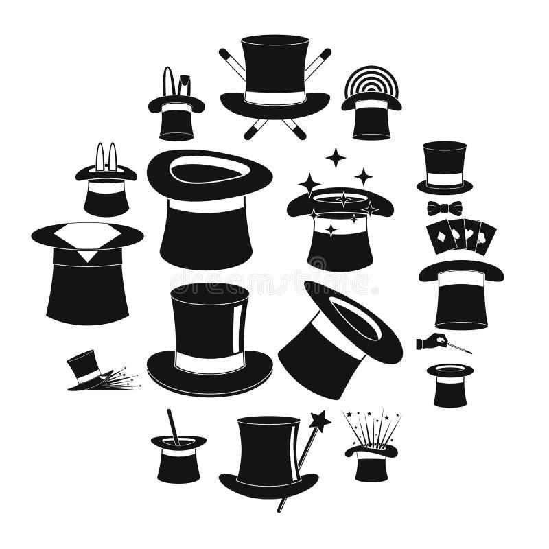 Los iconos de la brujería del sombrero del mago fijaron, estilo simple libre illustration