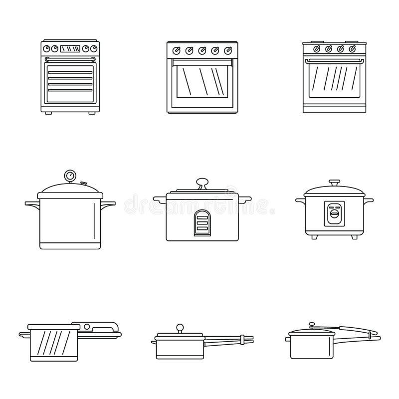 Los iconos de la cacerola de la estufa del horno de la cocina fijaron estilo del esquema ilustración del vector