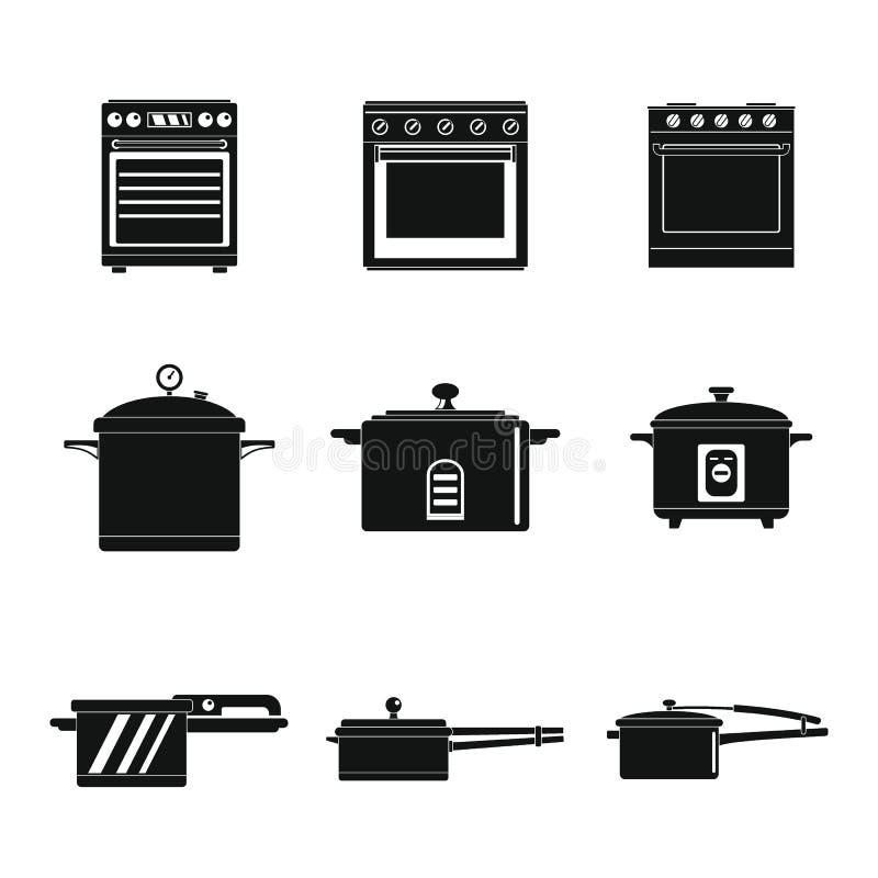 Los iconos de la cacerola de la estufa del horno de la cocina fijaron estilo simple stock de ilustración