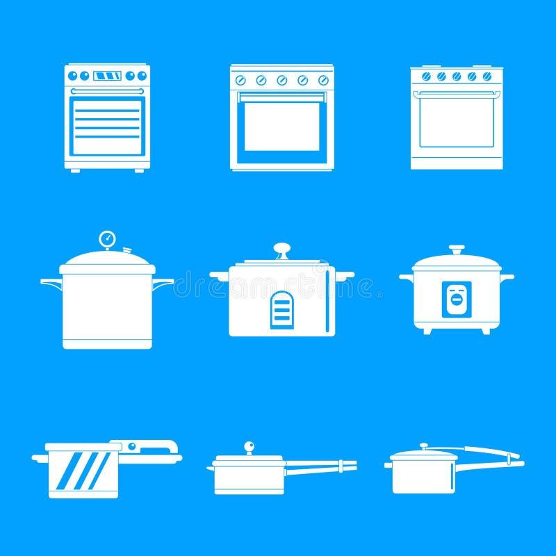 Los iconos de la cacerola de la estufa del horno de la cocina fijaron estilo simple ilustración del vector