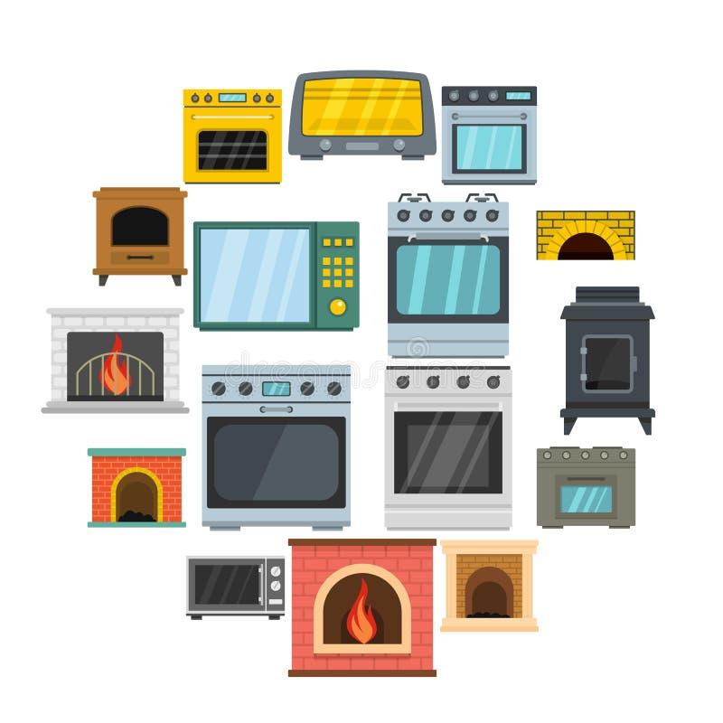 Los iconos de la chimenea del horno de la estufa del horno fijaron, estilo plano stock de ilustración