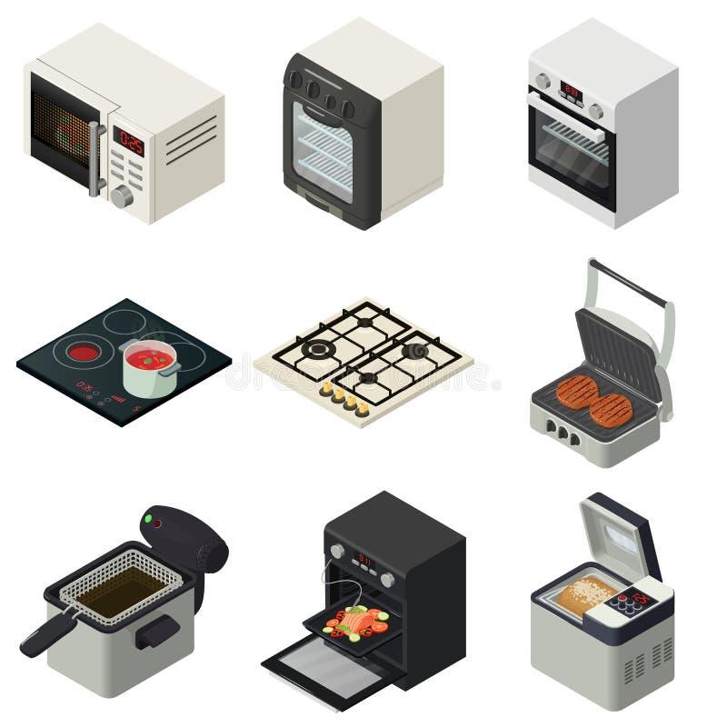 Los iconos de la chimenea de la estufa del horno fijaron, estilo isométrico libre illustration