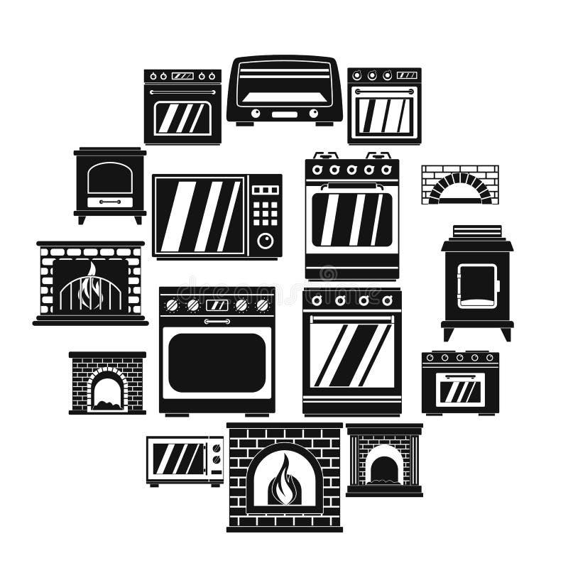 Los iconos de la chimenea de la estufa del horno fijaron, estilo simple ilustración del vector