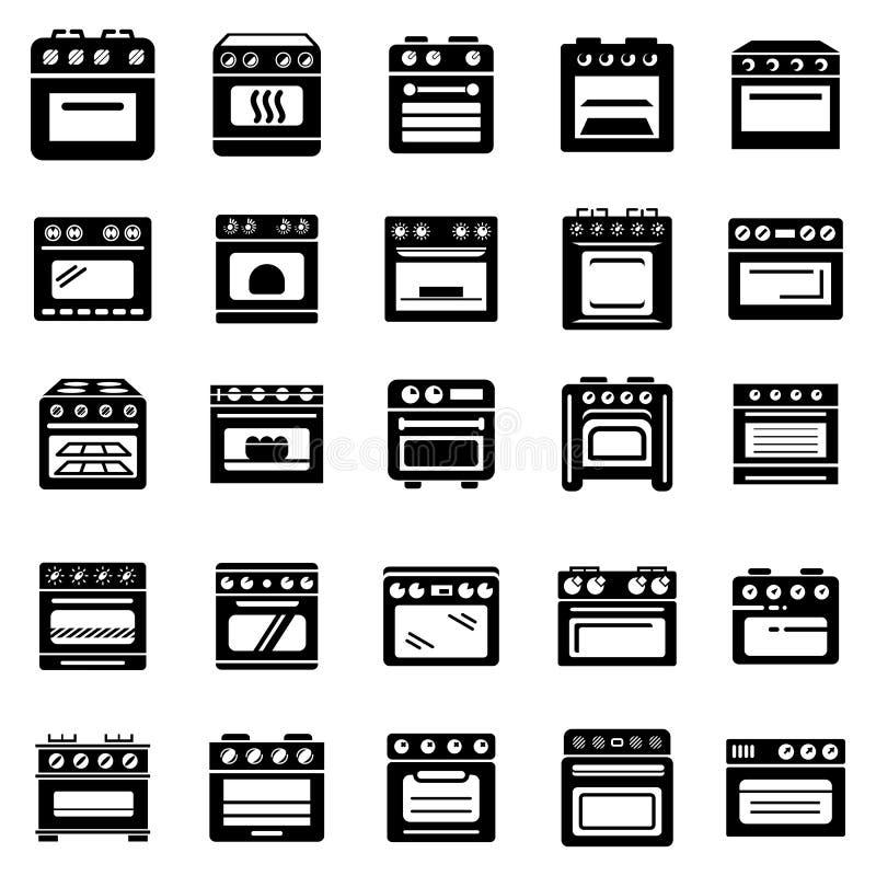 Los iconos de la chimenea de la estufa del horno fijaron, estilo simple stock de ilustración