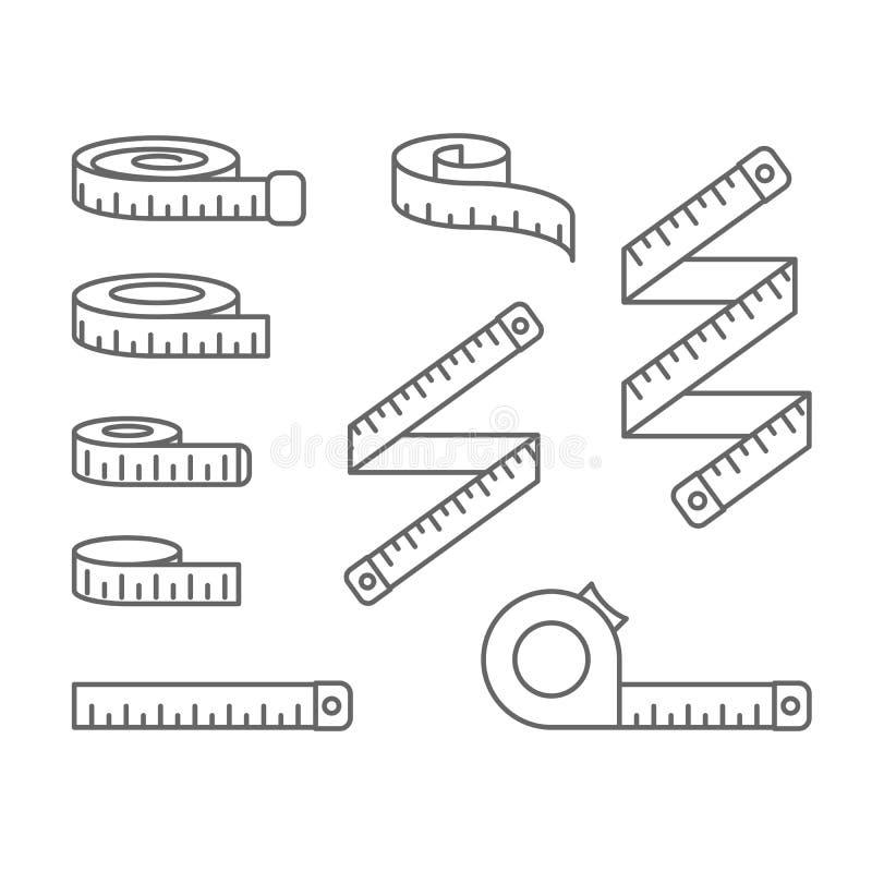 Los iconos de la cinta métrica - carrete, cinta métrica y bobina, adietan y pierden el peso stock de ilustración
