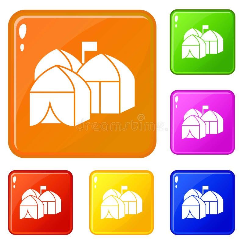 Los iconos de la ciudad de la tienda del refugiado fijaron color del vector stock de ilustración