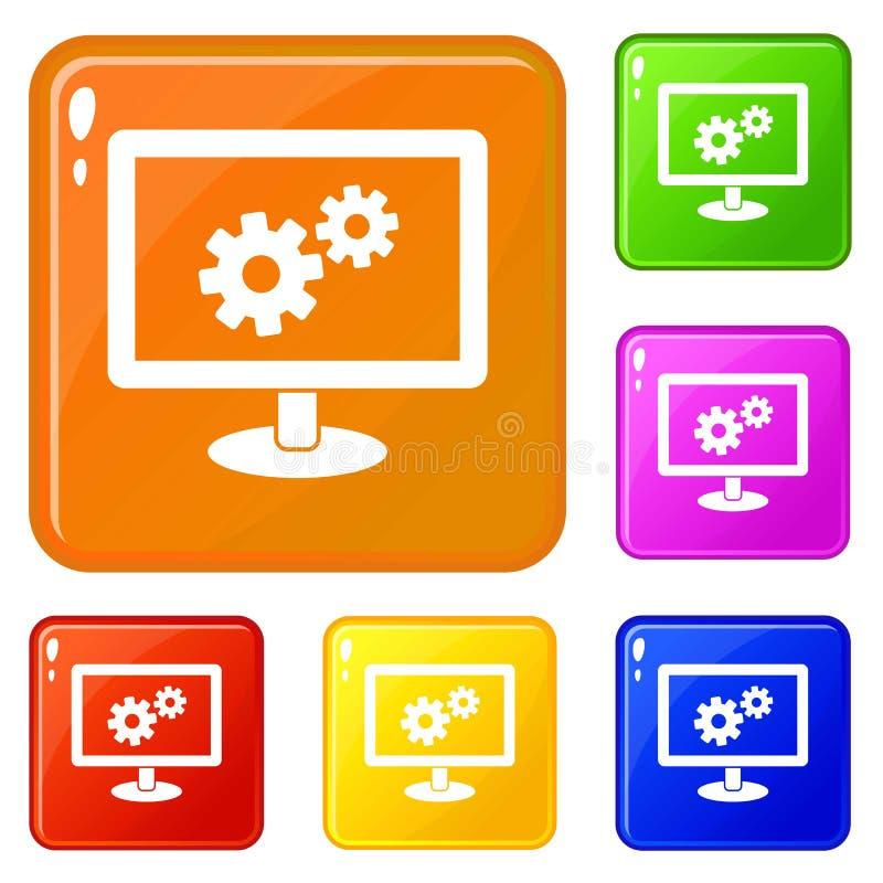 Los iconos de la configuración de la pantalla fijaron color del vector stock de ilustración