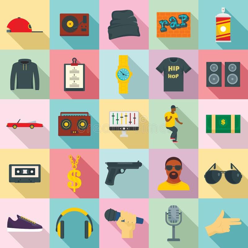 Los iconos de la danza de la música del swag del rap de Hiphop fijaron, estilo plano stock de ilustración