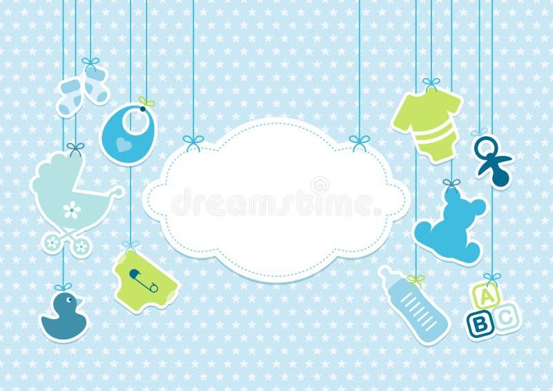 Los iconos de la ejecución del bebé de la tarjeta se nublan las estrellas modelan azul ilustración del vector