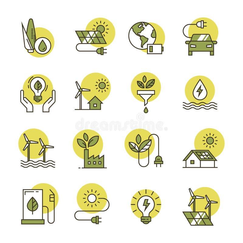 Los iconos de la energ?a limpia hicieron en un estilo plano y aislado en un fondo blanco en diversos colores libre illustration