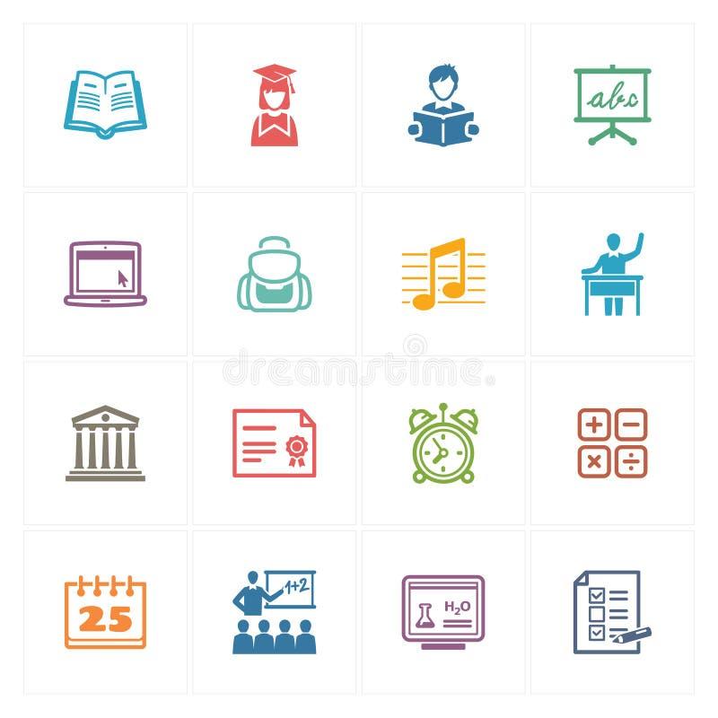 Los iconos de la escuela y de la educación fijaron 2 - serie coloreada ilustración del vector