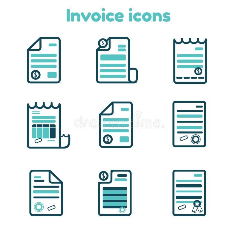 Los iconos de la factura fijaron en la línea estilo del arte, documento del pago de las finanzas, ejemplo de la cuenta stock de ilustración