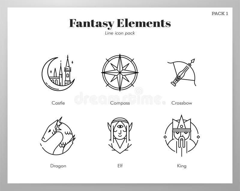 Los iconos de la fantasía alinean el paquete ilustración del vector