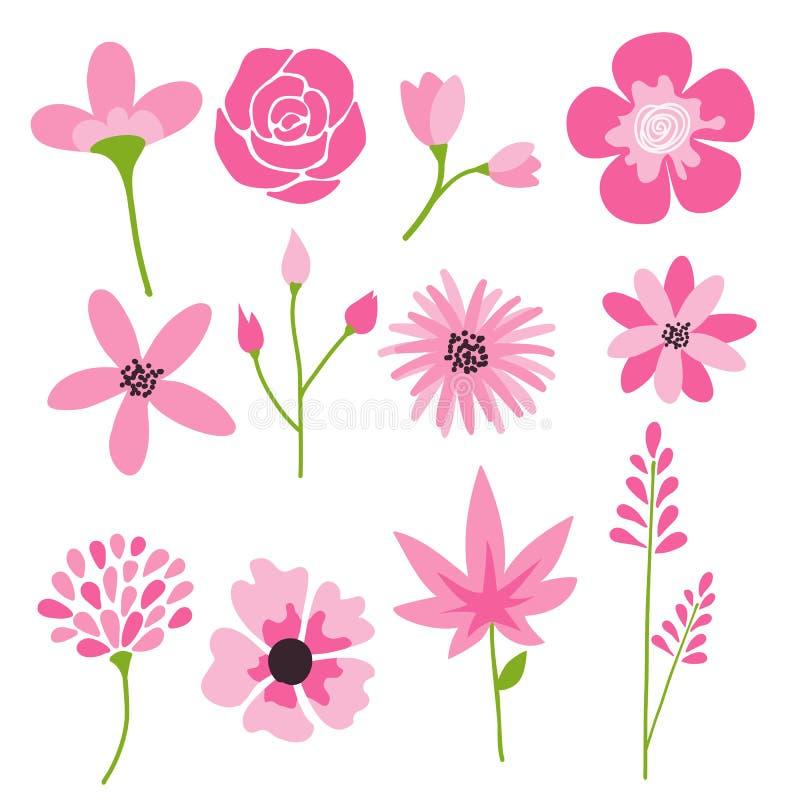 Los iconos de la flor fijan, vector la colección de elementos florales stock de ilustración
