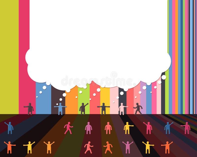Los iconos de la gente que hablan la comunicación de la nube de la burbuja diseñan la plantilla stock de ilustración