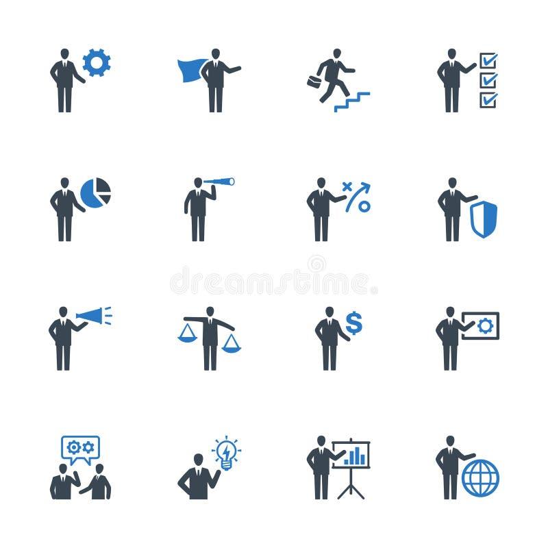 Los iconos de la gestión de negocio fijaron 2 - serie azul ilustración del vector