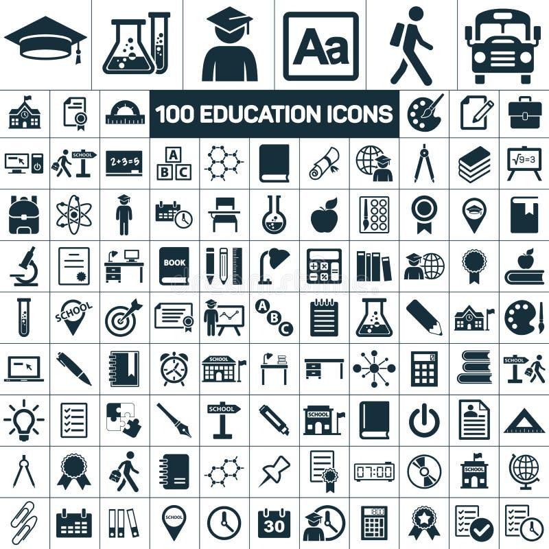 Los iconos de la graduación de la escuela de la educación fijaron en el fondo blanco ilustración del vector