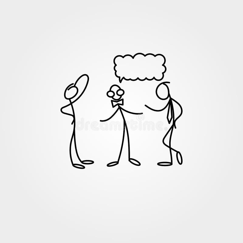 Los iconos de la historieta del bosquejo pegan figuras en escenas miniatura lindas stock de ilustración