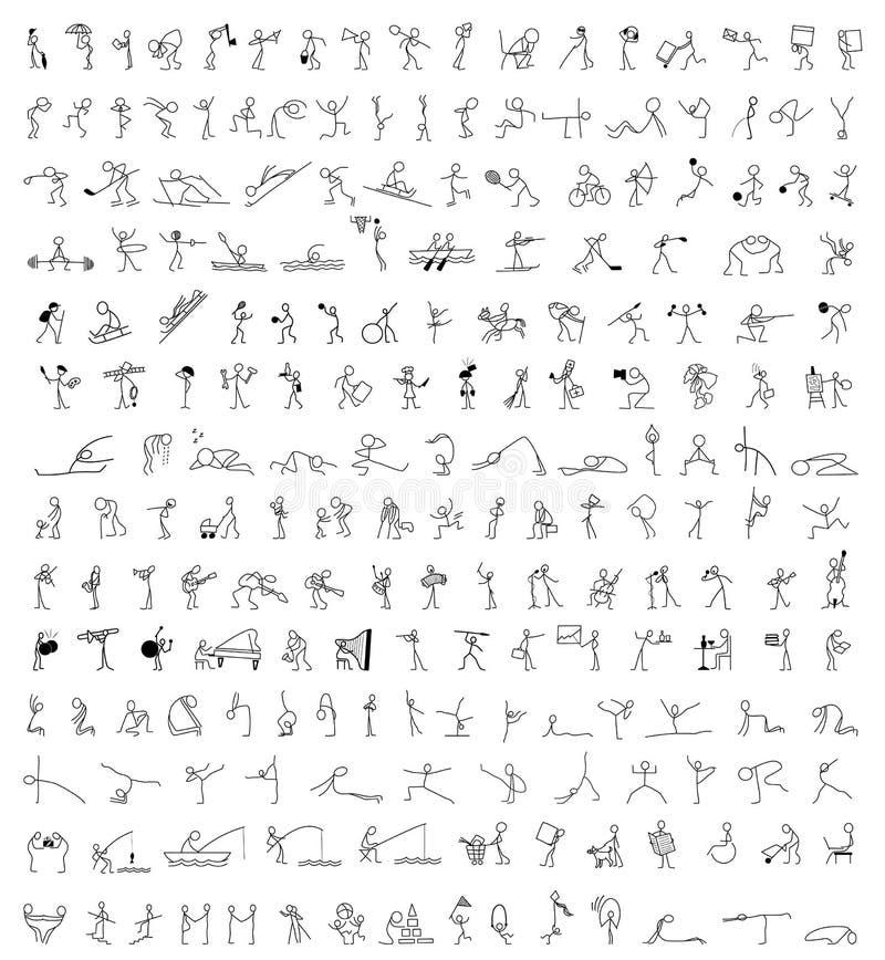 Los iconos de la historieta fijaron de figura del palillo de 200 personas del bosquejo pequeñas ilustración del vector