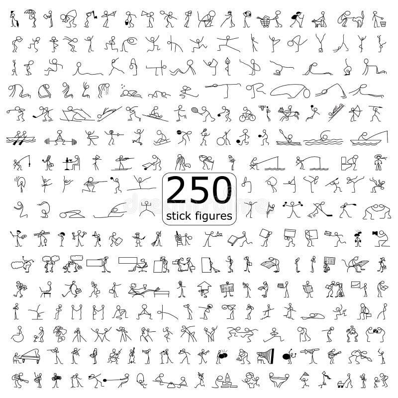 Los iconos de la historieta fijaron de figura del palillo de 250 personas del bosquejo pequeñas libre illustration