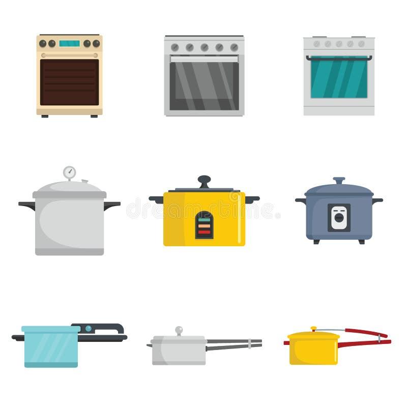Los iconos de la hornilla de la cacerola de la estufa del horno de la cocina fijaron estilo plano stock de ilustración