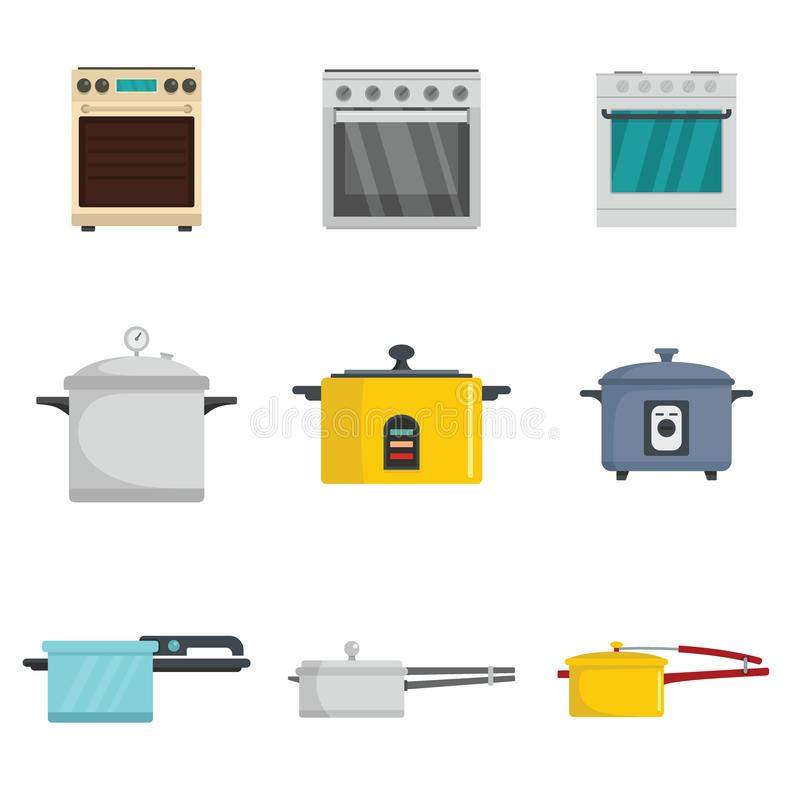 Los iconos de la hornilla de la cacerola de la estufa del horno de la cocina fijaron estilo plano ilustración del vector