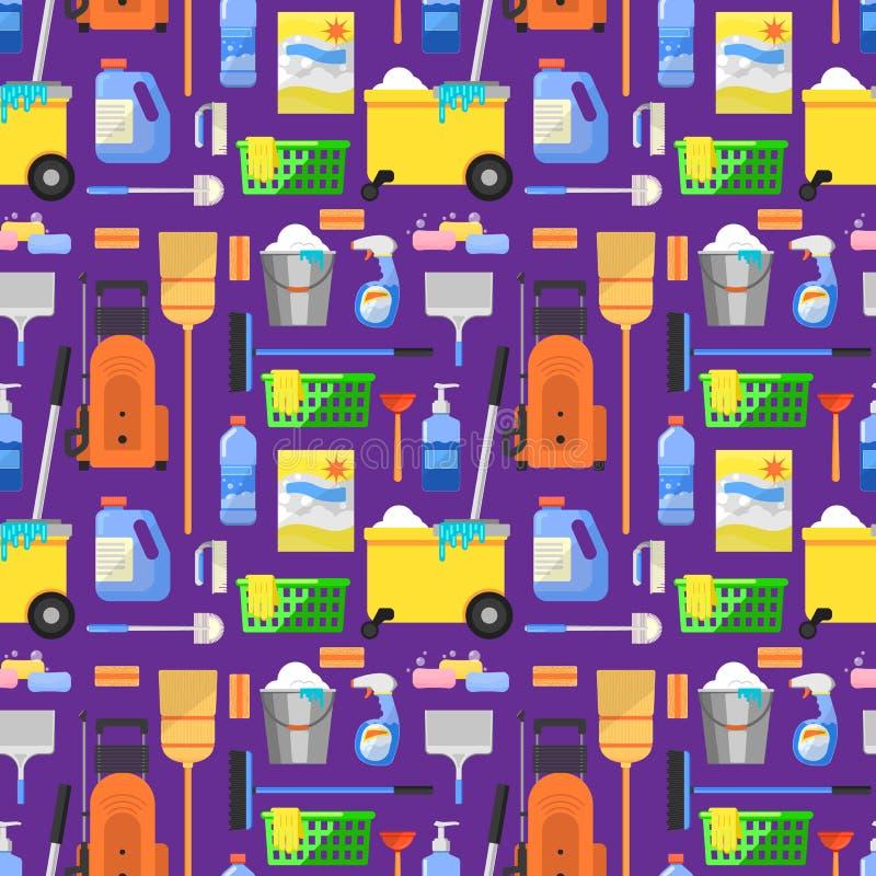 Los iconos de la limpieza fijaron el fondo libre illustration