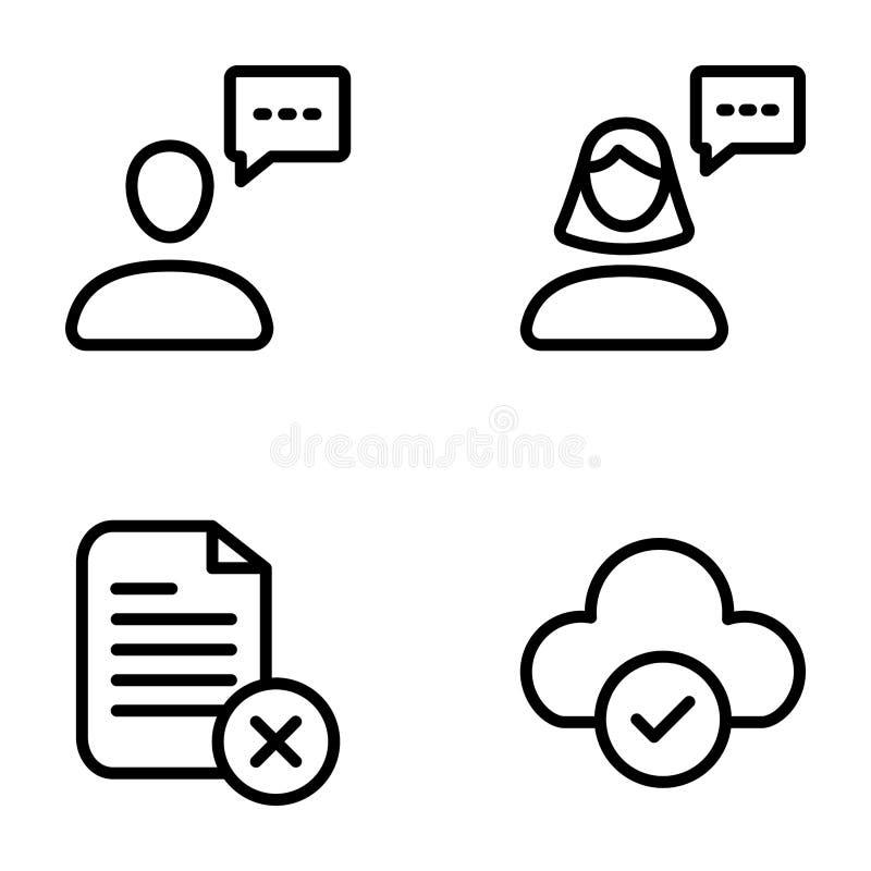 Los iconos de la lista de control y de los grados embalan ilustración del vector