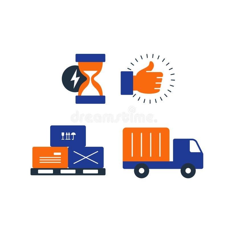 Los iconos de la logística de la entrega fijaron, las cajas del movimiento, camión cargado, tiempo stock de ilustración