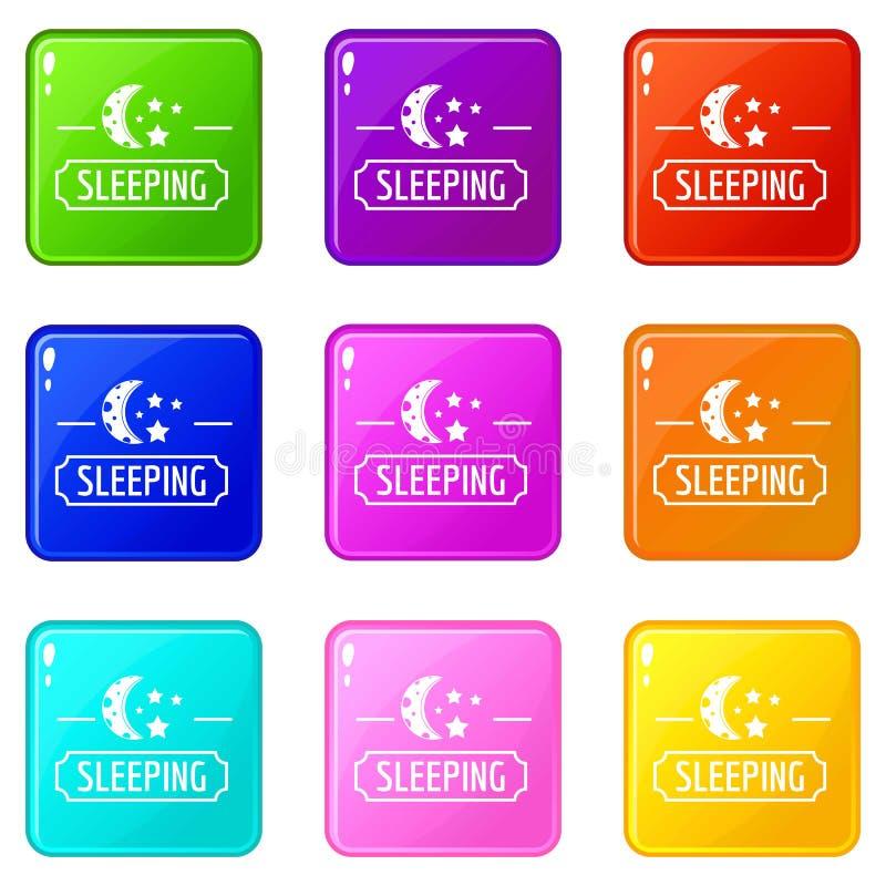 Los iconos de la luna el dormir fijaron la colección de 9 colores ilustración del vector