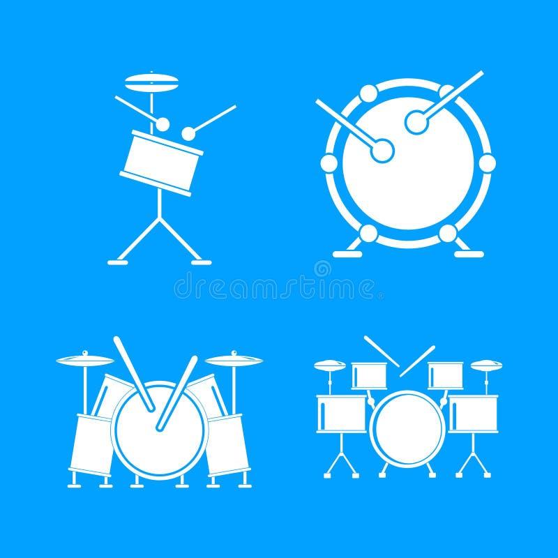 Los iconos de la música del equipo de la roca del tambor fijaron, estilo simple stock de ilustración