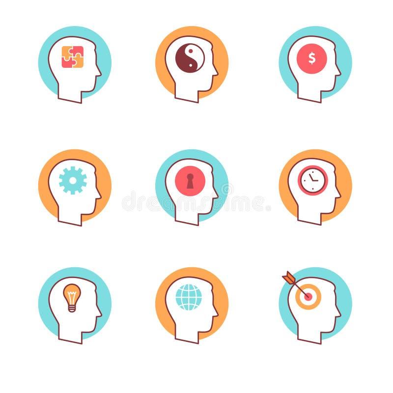 Los iconos de la mente humana enrarecen la línea sistema ilustración del vector