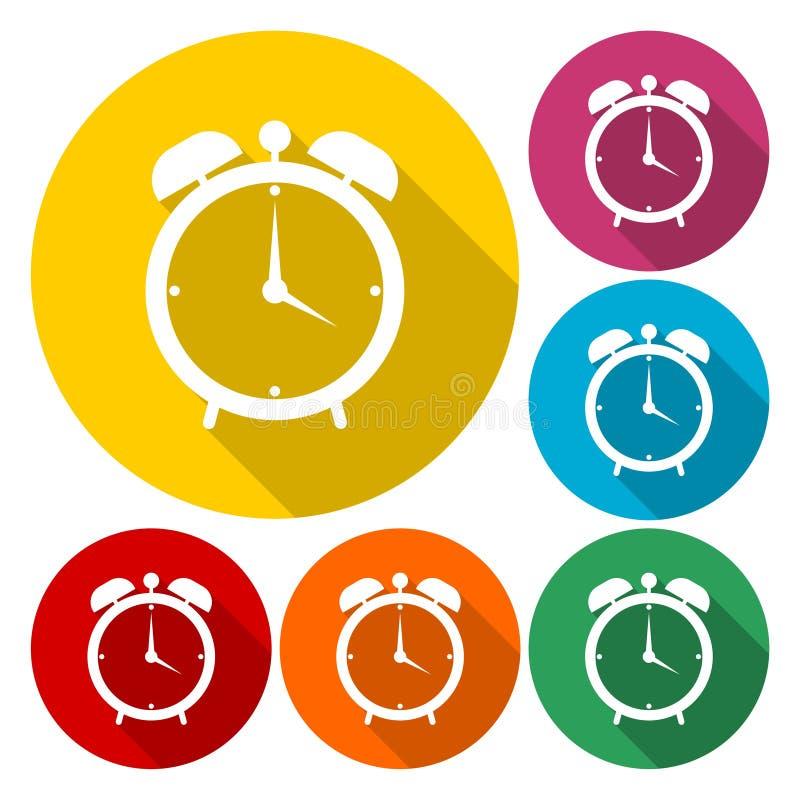 Los iconos de la muestra del despertador fijados, despiertan símbolo de la alarma ilustración del vector
