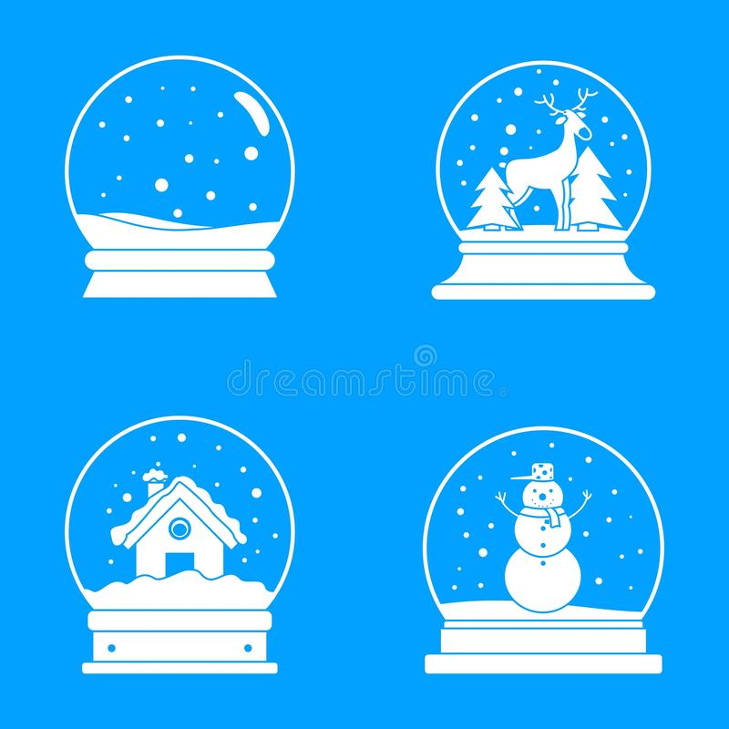 Los iconos de la Navidad de la bola del globo de la nieve fijaron, estilo simple stock de ilustración