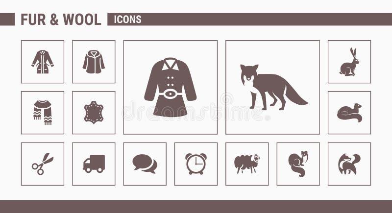 Los iconos de la piel y de las lanas - fije la web y el móvil 01 stock de ilustración